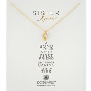 """Dogeared """"Sister Love"""" Double Heart Charm Necklace"""